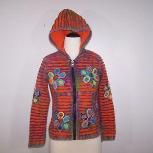 KPC Nepal Jacket Hoodie Boho Hippie Embroidered Patchwork Zipper Front Small
